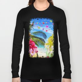 Tropical Beach and Exotic Plumeria Flowers Long Sleeve T-shirt