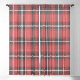 Red + Black Plaid Sheer Curtain