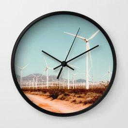 Wind turbine farm in the desert at Kern County California USA Wall Clock