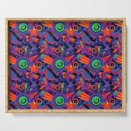 Star Burst Geometric Carpet Pattern Serving Tray