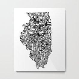 Typographic Illinois Metal Print