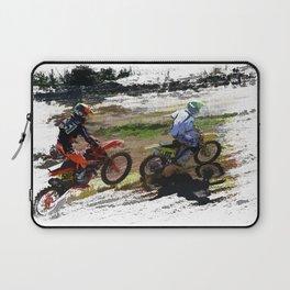 On His Tail - Motocross Sports Art Laptop Sleeve