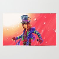 mad hatter Area & Throw Rugs featuring The Mad Hatter by mishybelle