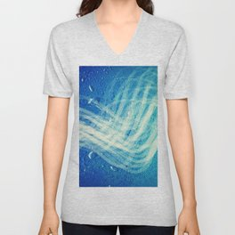 Linear Flow2-Blue Gradation Unisex V-Neck