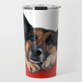 Sad Dog In Red Balcony. Closer Photo Travel Mug