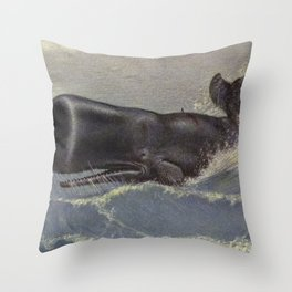 Vintage Sperm Whale Painting (1909) Throw Pillow
