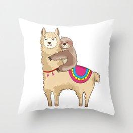 Sloth Riding Llama Hugging Animal Friends Throw Pillow