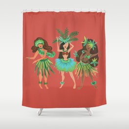 Luau Girls on Coral Shower Curtain