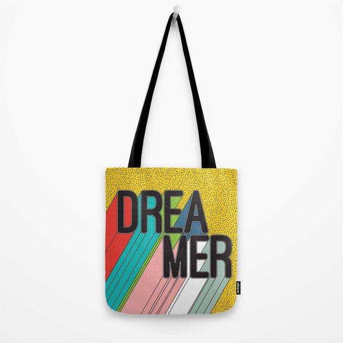 Dreamer Typography Color Poster Dream Imagine Tote Bag