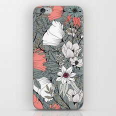 Seamless pattern design with hand drawn flowers and floral elements iPhone & iPod Skin