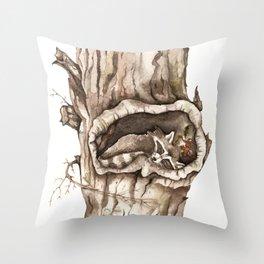 Sleeping Raccoon in Tree Hollow Throw Pillow