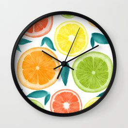 Watercolor Fruit Slices Wall Clock