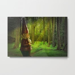 Gnome Traveler on a Forest Path Metal Print