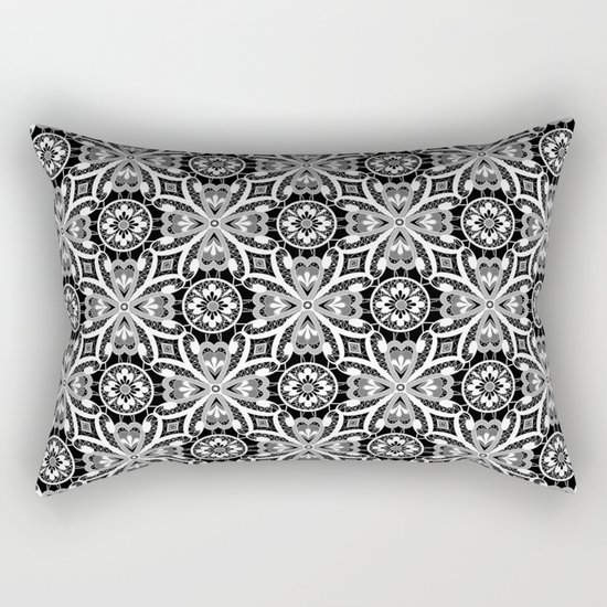 Retro . Lace black and white pattern . White lace on a black background . Rectangular Pillow