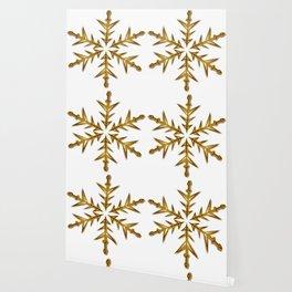 Minimalistic Golden Snowflake Wallpaper