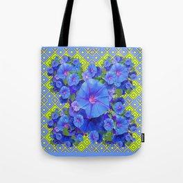 Lime-Blue Morning Glories Pattern Art Tote Bag