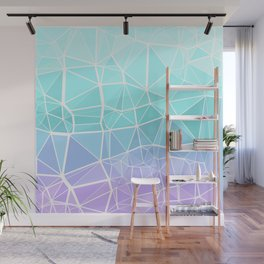 Cyan, Turquoise, and Purple Triangles Wall Mural