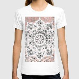 Dreamer Mandala White On Rose Gold T-shirt