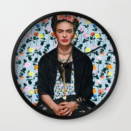 Flowers Frida Kahlo IV Wall Clock