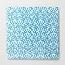 Blue Concentric Circle Pattern Metal Print