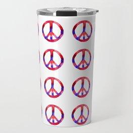 Patriotic Peace Sign Tie Dye Watercolor Travel Mug