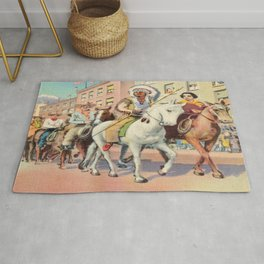 Vintage Western Town Rodeo Parade Rug