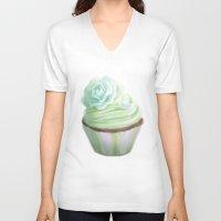 cupcake V-neck T-shirts featuring Cupcake by Naomi Shingler