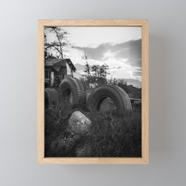 Countryside landscape photo in black and white Framed Mini Art Print