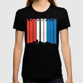 Red White And Blue Long Beach California Skyline T-shirt