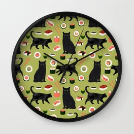 Black cat sushi cat breeds cat lover pattern art print cat lady must have Wall Clock