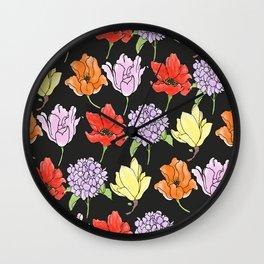 dark crowded floral Wall Clock