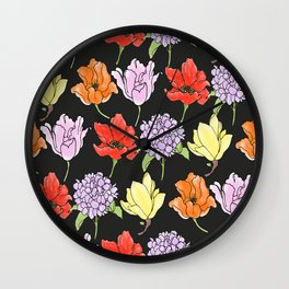 dark crowded floral Wall Clock