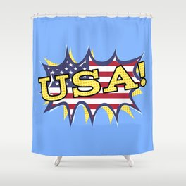 USA POW flag starburst Shower Curtain