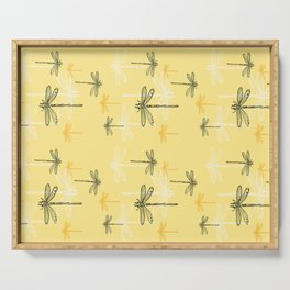 Dragonfly minimal Soft light Yellow & Ultimate Gray_drawing Serving Tray