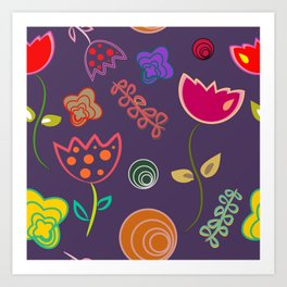 Motif de fleurs 5 Art Print