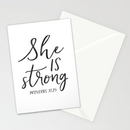Proverbs 31:25, She is Strong, Printable Bible Verse, Bible verse print Stationery Cards