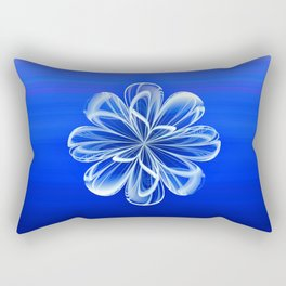 White Bloom on Blue Rectangular Pillow