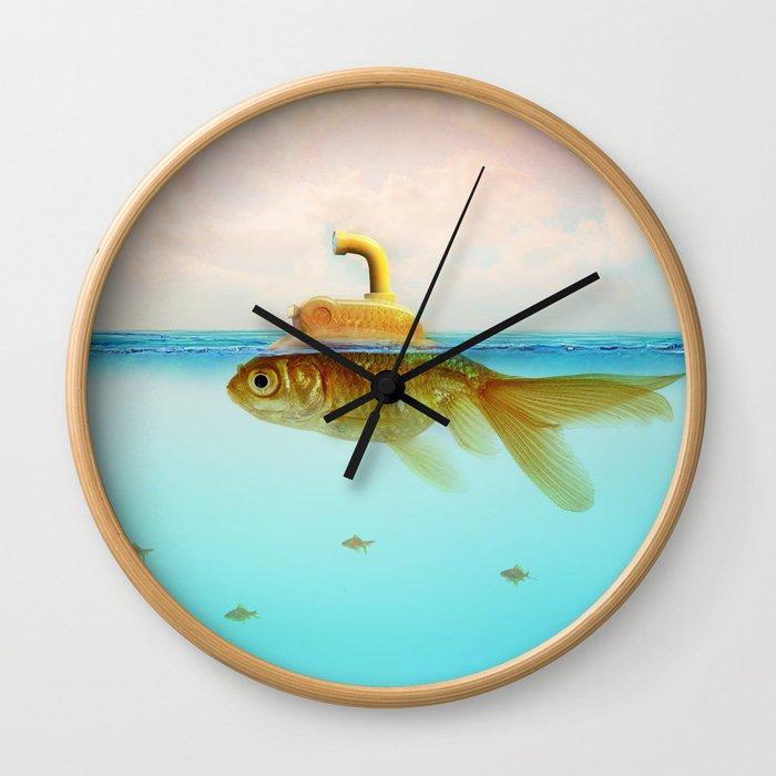 Submarine Goldfish Wall Clock
