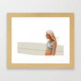 Surfer girl - vector illustration Framed Art Print