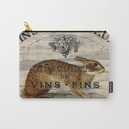 vintage typography fall harvest autumn woodland french hare rabbit Carry-All Pouch