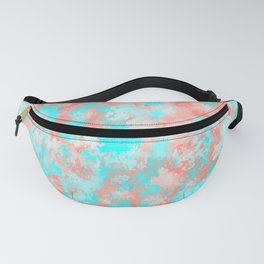 Artsy Modern Summer Coral Orange Aqua Abstract Fanny Pack