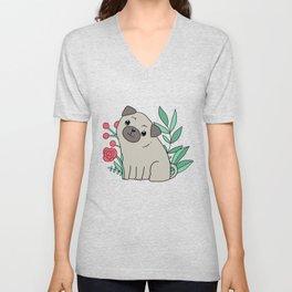 Pugs and summer flowers Unisex V-Neck