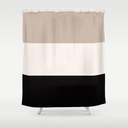 Black Tan Cream Bold Stripes Shower Curtain