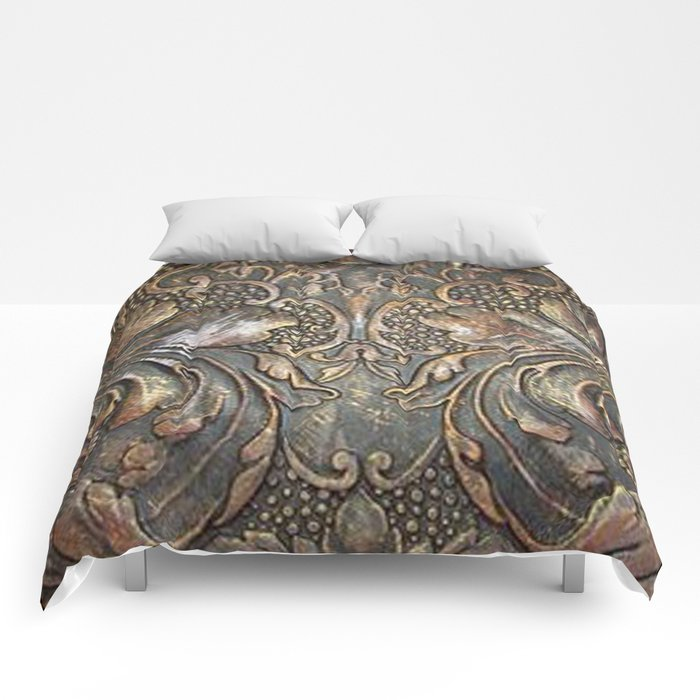 Golden Brown Carved Tooled Leather Comforters