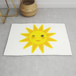 funny cartoon yellow sun smiling and winking eyes and pink cheeks, sun on white background Rug
