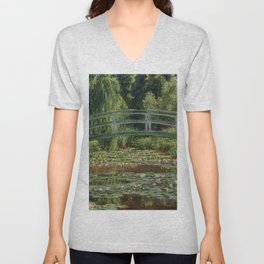 """Claude Monet """"The Japanese Footbridge and the Water Lily Pool, Giverny"""" Unisex V-Neck"""