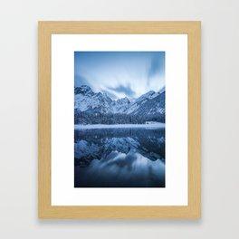 Majestic mountain Mangart reflection Fusine lake Italy Framed Art Print