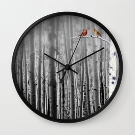 Red Cardinals in Birch Forest A128 Wall Clock
