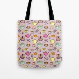 Time For Tea and Cake Illustrated Print Tote Bag