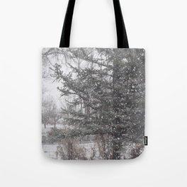 Soft snow falling Tote Bag
